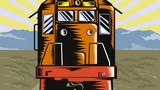 diesel train on railroad coming up woodcut