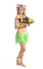 Attractive Caucasian girl with fruits