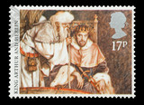 UK mail stamp featuring the King Arthur and Merlin, circa 1985