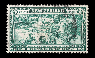 New Zealand stamp with the arrival of the Maoris, circa 1940