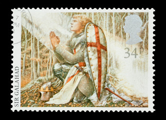 Mail stamp printed in the UK featuring Sir Galahad, circa 1985