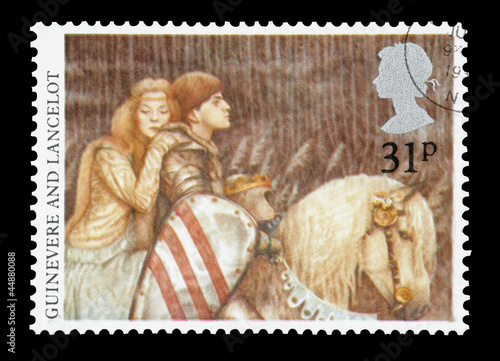 UK mail stamp featuring Guinevere and Lancelot, circa 1985