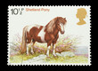 Mail stamp from the UK featuring a Shetland pony, circa 1978