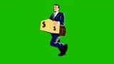 Businessman Banker Worker Carry Money Box Walking Retro poster