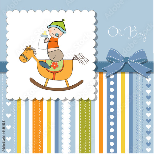 baby boy shower shower with wood horse toy