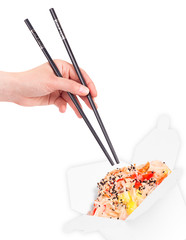 Chinese food  with hand and chopsticks