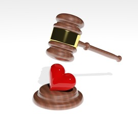 Gavel coming down on a 3d heart design