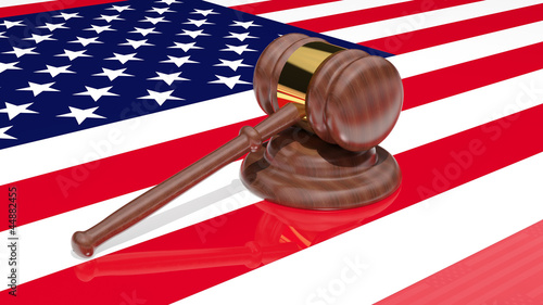 Gavel on the flag of America