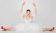 Portrait of young beautiful bride gymnast