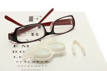 glasses, contact lenses in containers and tweezers,