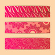 Red Floral Banner Card Set
