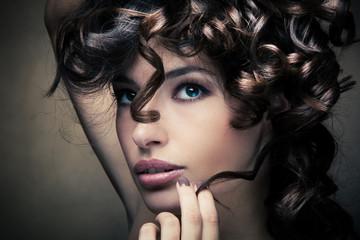 shiny curly hair