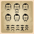 Faces with Mustaches, sunglasses,eyeglasses and a bow tie