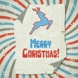 Vector Christmas background with jumping stylized deer.
