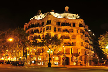 Casa Mila, or La Pedrera, of Antoni Gaudi in Barcelona, Spain