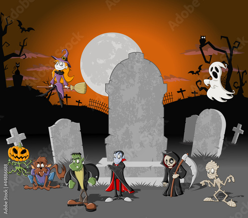 Halloween cemetery with tombs and cartoon monster characters