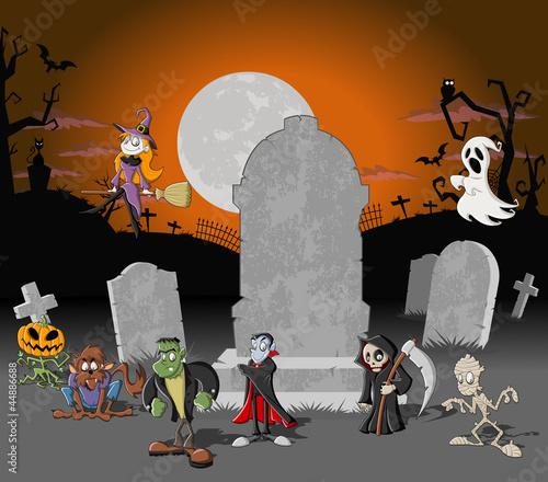 幽灵性质恐怖庆祝活动晚上月月亮服装树死亡母亲漫画