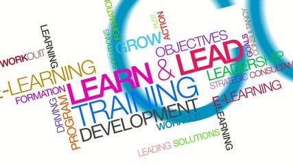 Lead and learn training development tag cloud animation