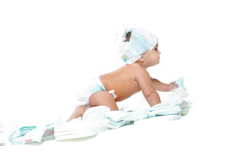 cute baby with diapers isolated over white