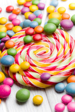 colored candy and lollipop