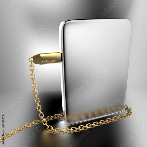 Golden USB chain around silver software box