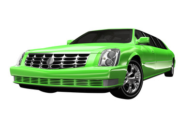 Stretchlimousine Grün - freigestellt