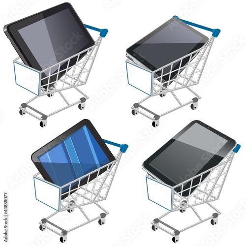 Carrito de la compra con tablets pc