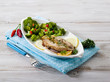mackerel with steamed broccoli
