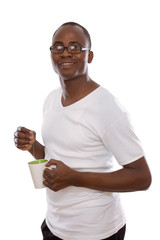 African man with cup of tea, isolated on white background