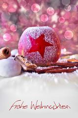 Weihnachtskarte mit Winterapfel