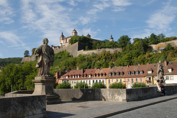 Alte Mainbrücke, Festung Marienberg, Bayern, Würzburg
