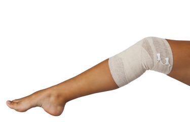 elastic bandage on the knee joints