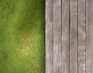 Deck and green ground