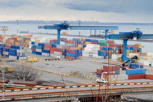 Odessa international sea port  with containers