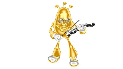 Golden funny 3D character playing the violin