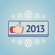 Vector new year greeting card with like sign