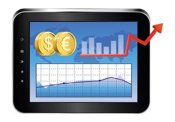 Vector Tablet Pc with finance concept