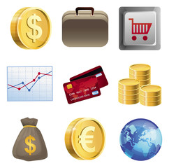 Collection with bright finance icons