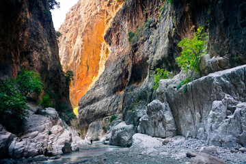 Rocky gorge and mountain stream of Saklikent Canyon / Turkey