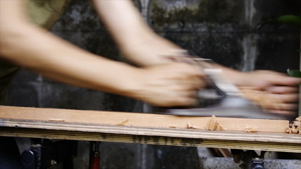 wood plane and shavings