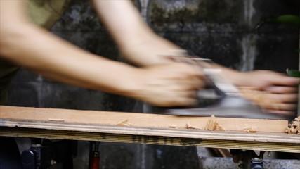 wood plane and shavings