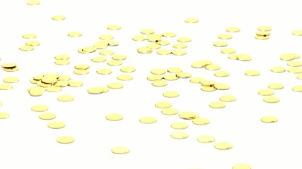Falling gold coins (with alpha channel)