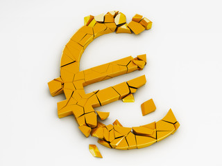 Broken Euro Sign With Clipping Path