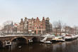 Winter view of the city center in Amsterdam