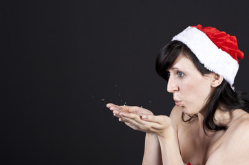 pustende Weihnachtsfrau