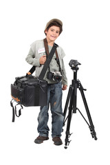 Little boy dressed as news camera man