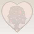 Couple silhouette in a heart in pastel colours