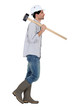 Profile of worker carrying sledge hammer