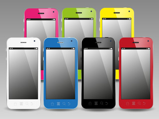 colorful smartphones