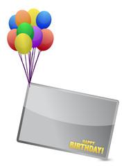 Birthday balloon banner illustration design over white